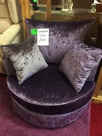New Purple Velvet Swivel Chair