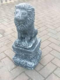 Lion on plinth garden ornament