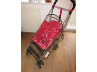 Maclaren Triumph RED Pushchair Buggy Stroller With Raincover