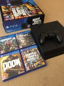 PS4 (PlayStation 4) 500gb - Doom, GTA V, Fallout 4, Far Cry 4 included