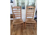 5 Dining chairs - used, good condition, light coloured wood