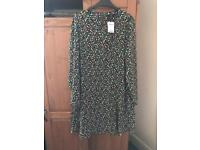 Black multi coloured next long sleeved dress size 18 with tags on