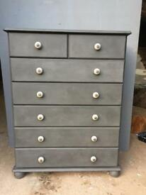 Charcoal chest of drawers with grey ceramic handles