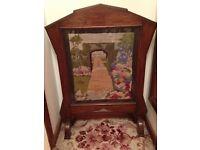 Vintage oak tapestry screen