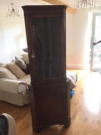 Antiques Corner Leaded Glass Corner Cupboard with original keys