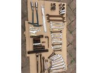 Random hand tools spanners sockets etc