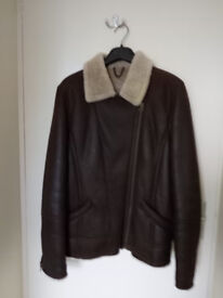 LAKELAND SHEEPSKIN SHEARLING JACKET, WOMENS, SIZE 14, DARK BROWN, EXCELLENT CONDITION