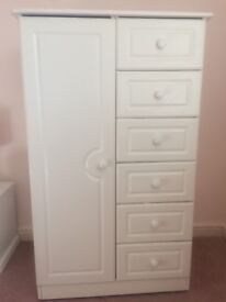 Wardrobe with draws, hanging rail and shelf, excellent condition