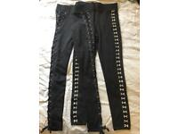 Bundle of 2 Topshop black leggings with detail - new!