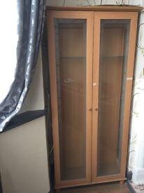 wood effect glazed tall drawer shelving for storage 80cm x 27cm x 182cm