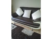Faux leather 2 & 3 seater cream & brown 1 year old, £200 ono
