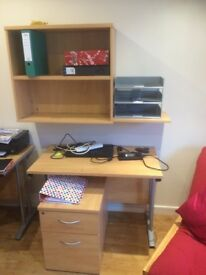 Office computer desk, shelving & filing cabinet