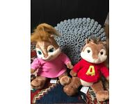 Two chipmunk soft toys