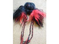 Halloween wig with plats and a net to hold own hair in place