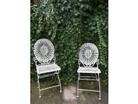 Pair Of Vintage White Ornate Iron Patio Garden Bistro Dining Folding Chairs x 2