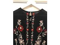 Zara black floral 3/4 sleeve dress