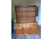 Pine kitchen dresser with shelves, drawers and cupboards