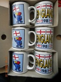 ENGLAND FOOTBALL WORLD CUP MUGS FRANCE 98 BOXED SET OF 6 NEW UNUSED RARE COLLECTORS ITEM