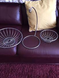 Three in one metal fruit bowl.