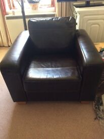 John Lewis Leather 2 Seater Sofa & Chair