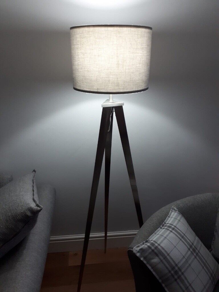 Silver Tripod Floor Lamp With Grey Shade In Sketty