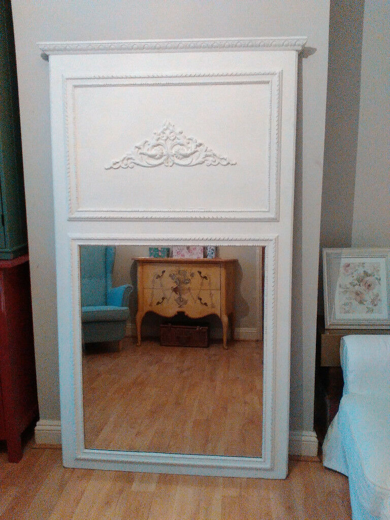 Vintage 6ft French Trumeau Mirror Large Ornate Wall Leaner Mantel
