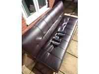 Fold down black leather sofa bed