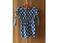Boden girls dress 18-24 months blue with flowers. Like new
