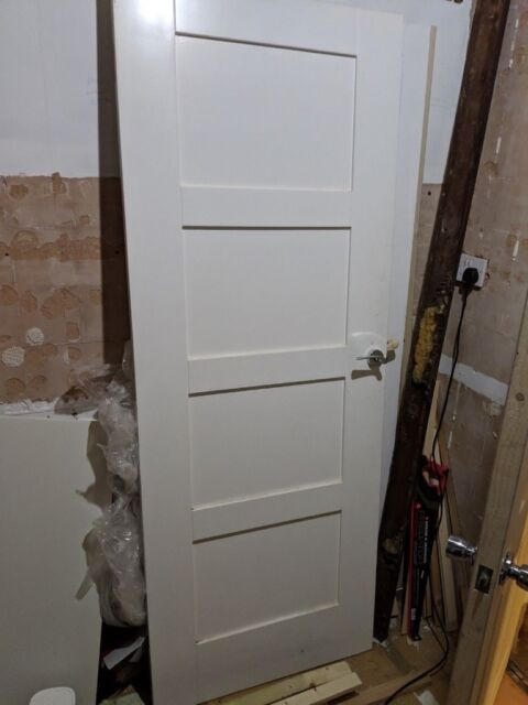 new product b0ee4 06042 Wickes Marlow White Softwood 4 Panel Shaker Internal Doors ...