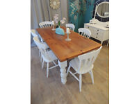 Farmhouse solid pine dining set with six chairs in shabby chic style