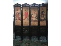 Folding Traditional Asian 4 Panel Room Divider Screen Privacy Wall Movable Partition Separator UK.