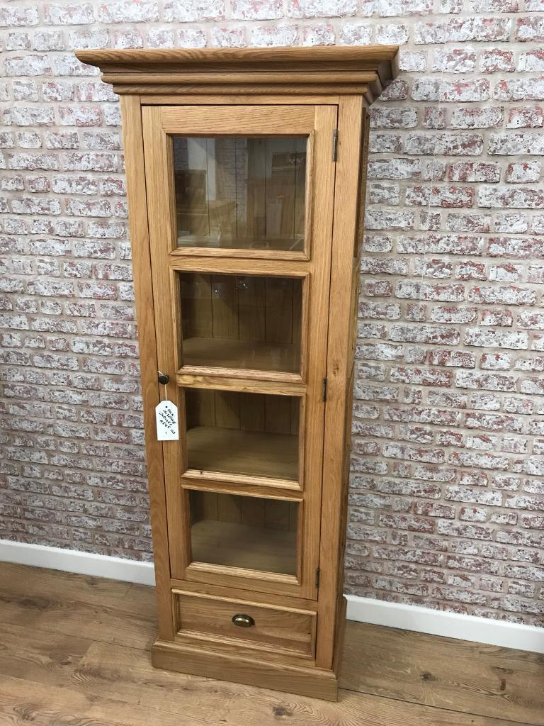 70cm Wide Oak Gl Display Cabinet