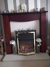 mahogany fire surround with marble back and hearth also electric fire in good conition