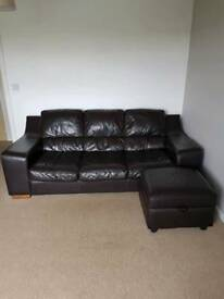 Leather sofa's and pouffe( brown)