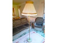 Standard Brass Floor Lamp Onyx Base Stem Tall Single Light Lightshade Lampshade Shade Retro Vintage