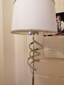 chrome standing lamp with white shade and decorative twist new