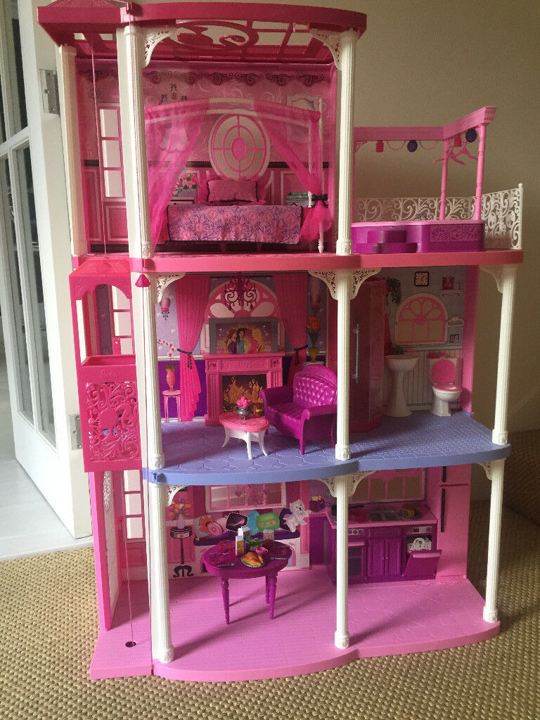 Barbie Pink 3 Story Dream Townhouse 2 Kitchen Chairs Are Missing