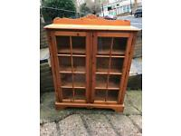 Stylish Modern Solid Wood Glass Front Cabinet With Lock Key Good Condition Delivery Possible