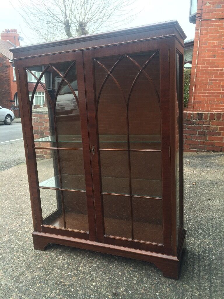 Vintage Dark Wood Glass Display Cabinet In Barnsley