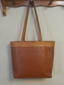 TRIBE LEATHER TOTE BAG  Like New Condition Whiskey Brown PURSE Shoulder Bag Camel Caramel Real Cowhide