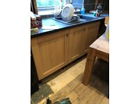 Kitchen base units, fixings and worktop