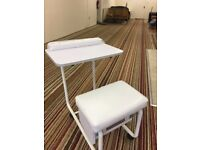 White table and stool nail station