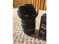 SIGMA 17-70mm macro f2.8 to 4.5 lens for canon