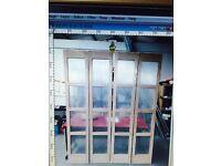 Folding French door room divider