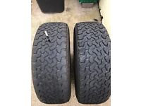 2 Used 4x4 Ling Long tyres 235x65x17 in good used condition with 4/5 mm left on them