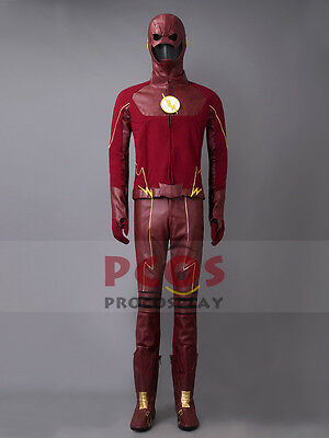 The Flash Season 2 Barry Allen Cosplay Costume & Mask & Boots mp003196 (Cheap Costume Boots)
