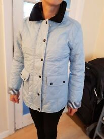 WOMENS LADIES QUILTED PADDED BUTTON ZIP JACKET COAT Sky Blue, size 8