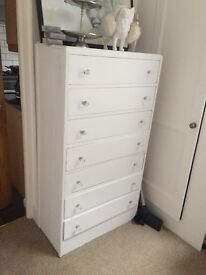 Lovely White Chest of Draws with Diamond Handles