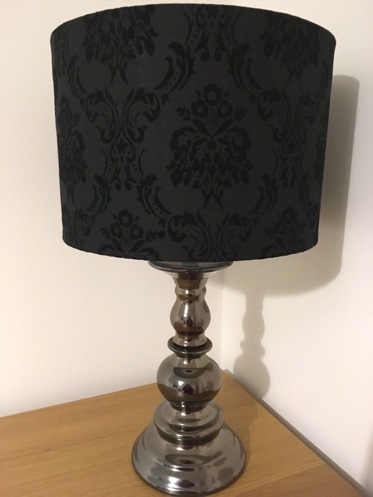 Metallicbronze table lamp with black damask lamp shade in metallicbronze table lamp with black damask lamp shade aloadofball Image collections