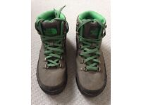 Worn once NORTH FACE walking hiking sports boots shoes heritage retro green grey £130
